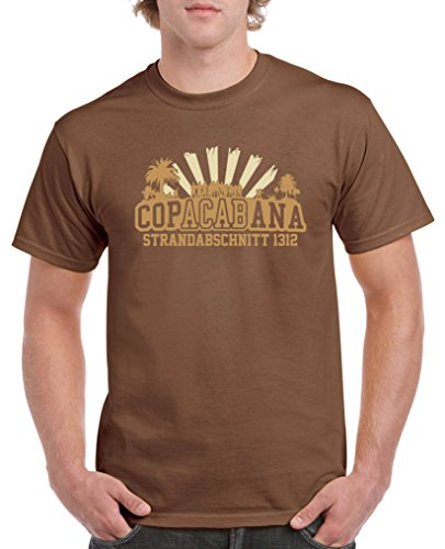 Comedy Shirts - Copacabana Strandabschnitt 1312 - Herren T-Shirt - Braun/Hellbraun-Beige Gr. L