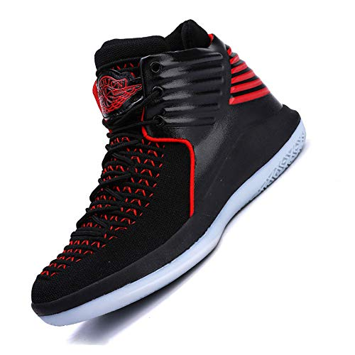 YSZDM Basketball-Schuhe, High to Shock Absorption Rutschfeste Atmungsaktive Männer Sportschuhe Outdoor Laufschuhe,Black,43 - Männer Frauen Und Schuhe Jordan