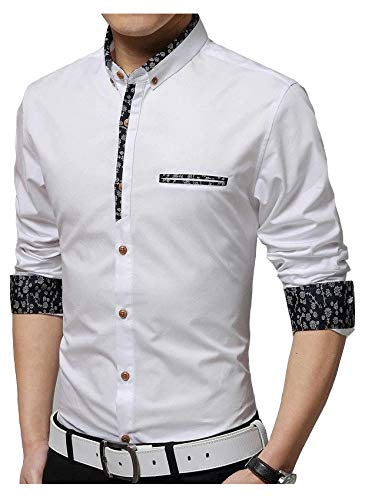 IndoPrimo Men's Cotton Casual Fancy Shirt for Men Full Sleeves (White, Small - 38)