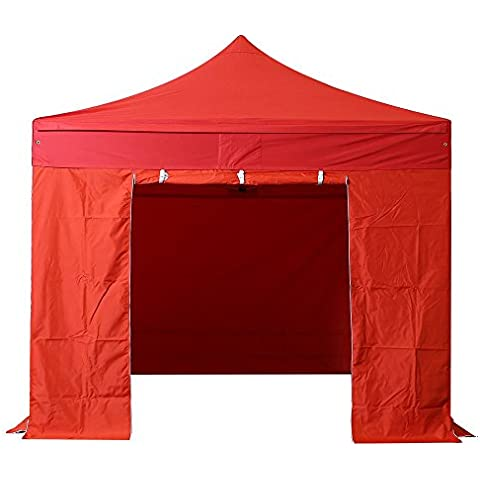 INTEROUGE - Carpa Pabellón Plegable con Paredes para Jardín Patio Plaza - 3x3M,Impermeable,32mm Tubo de Acero + 4 Laterales Ajustable Altura 1.75m a 2.09 m Lona Roja/Rosa/Negro