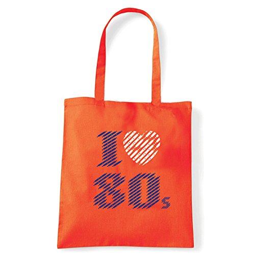Art T-shirt, Borsa Shoulder I love 80, Shopper, Mare Arancio