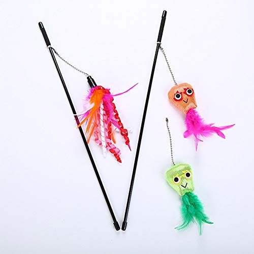 PanDaDa Katzen Teaser Zauberstab Spielzeug Set, Interactive Pet Angelrute 3 Aufsätze, einschließlich Octopus Heads und Feather Refill (E-stab-refill)