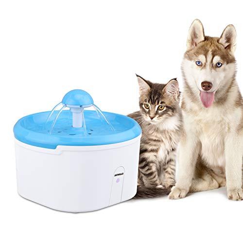AEMIAO Katzen Trinkbrunnen, Infrarot Erkennung Wasserspender Katzen Wasserbrunnen Trinkbrunnen Blume für Katzen und Hunde Wassetrinken Senses Blumentrinkbrunnen Automatisch 2.2 L mit 1 Karbonfilter