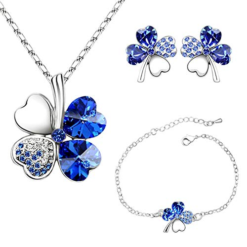 4 Hoja Trébol Collar Earrings Pulseras de trébol de cuatro hojas Colgante ajustable Juego de cadenas Peach Heart Rhinestone Joyas con incrustaciones de cristal para niñas, mujeres, azul