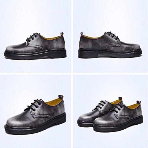 Student Stil Leder einzelne Schuhe Frauen runde Zehe flache Ferse Marder  Schuhe Matte gray ...
