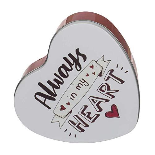 Metall Dose ' Always in my Heart ' weiß-rot, Maße (H x B x T): 6,5 x 18 x 17,5 cm; Material: Metall (Blech); nur für Trockenvorräte; ideal als Gebäckdose und Geschenkdose für Schmuck etc.