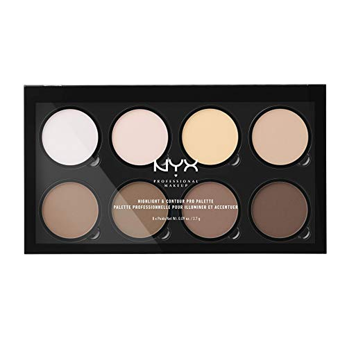 NYX Professional Makeup Highlight & Contour Pro Palette Contouring Kit in Polvere, Otto Tonalità Matte e Perlescenti