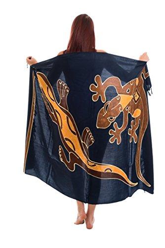 35 Modelle Sarong Pareo Wickelrock Strandtuch Tuch Wickeltuch Handtuch Original EL-Vertriebs GmbH Ciffe Tücher inklusive Schnalle Schließe aus Kokosnuss Wk2 Blau