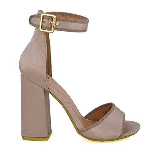 ESSEX GLAM Donna Satinato Tacco alto Cinturino alla caviglia Peep Toe Sandalo Champagne Satinato