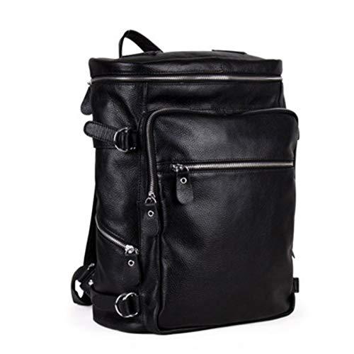 MoBrevil Herren Leder Rucksack,Lässige einkaufen tragbaren Taschen aus weichem Leder umhängetasche Wasserdichte Rucksack Laptop Reisetasche-schwarz 44x28x15cm(17x11x6inch)