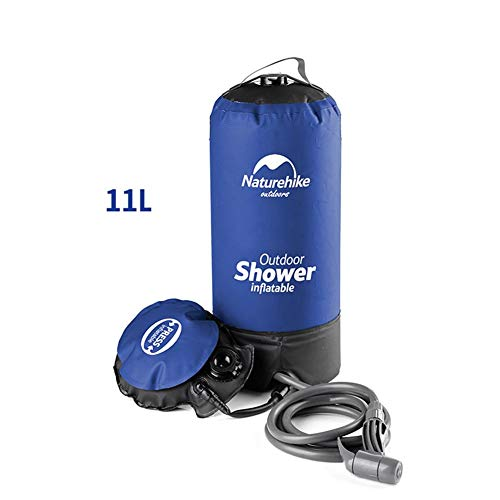 Camping Solar Dusche Outdoor Camping Shower Bag,11L/2. 9 Gallons Outdoor Inflatable Shower Bag Pressure Shower Water Bag Flexible Hose Foot Pump Portable Camp Shower For Camping Activities Car Washing
