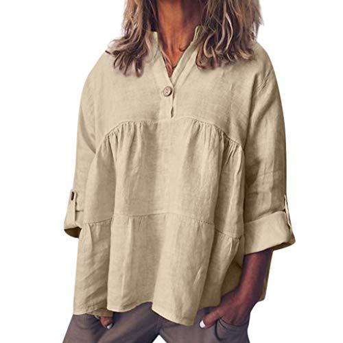iYmitz 3/4-Arm Damen Streetwear Einfarbig Rundausschnitt Leinen Frauen Freizeit Bluse Sommer Freizeithemd(Z6-Khaki,EU-38/CN-M)
