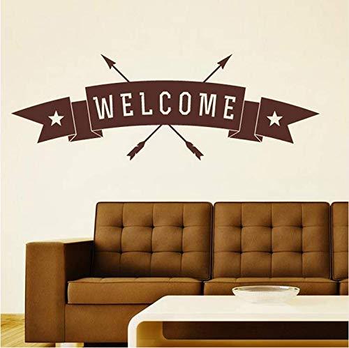 Chaoaihekele Willkommen Pfeile Durch Banner Zeichen Pvc Persönliche Dekoration Wandaufkleber Für Wohnzimmer Home Art Decor Vinyl Wandtattoos Fenster Poster 122X42 Cm