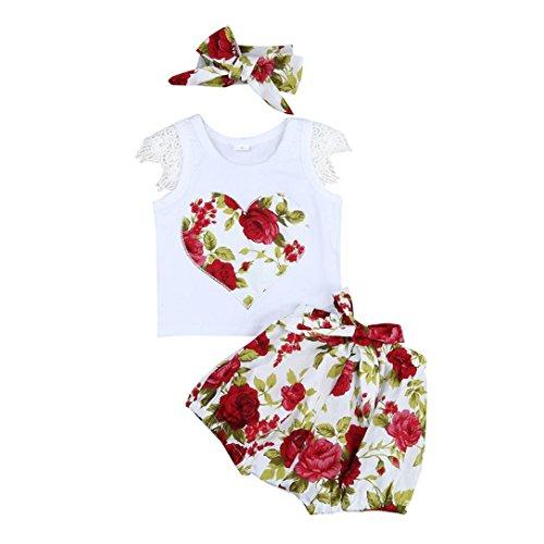 Mädchen LMMVP Bekleidung Spitze Kleidung Set Kinder Tops T-shirt Floral Shorts Hose Outfits Set Kleidung Set Printed Shorts Set Kleidung (6Monat-3Jahr) (Rot, 80CM (12Monat)) (Kleinkind Rot Tutu)