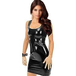 Mini vestido de Cuero sintetico negro Club Brillante
