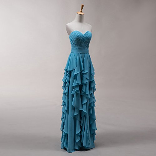 Bridal_Mall Damen Herzform Brautjungfernkleider Cascading Lang mit Schleife Chiffon Ballkleider Abendkleider Rosa