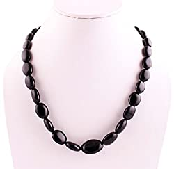 Neerupam Collection Elegent Natural Black Onyx Plain Oval Beads Necklace For Women