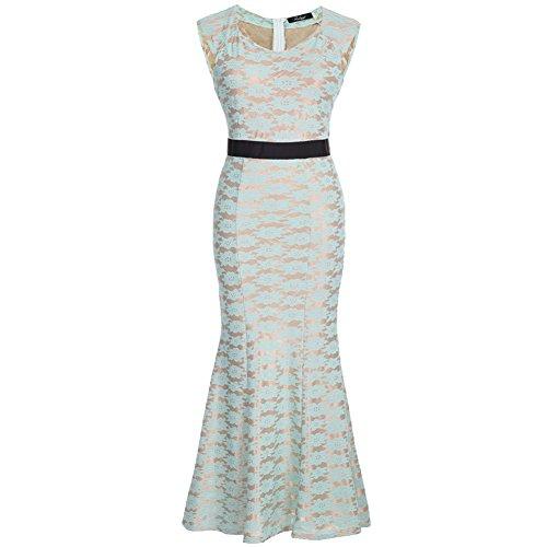 Molly Femmes De Vintage Style Embroidery Robe Vert