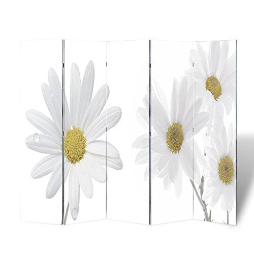 Anself Biombo con Diseño de Flores 200 x 180