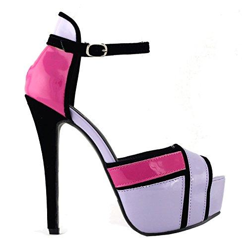 Spectacle histoire trois ton Ankle Strap plate-forme soirée mariage bal Sandals, LF80819 Violet