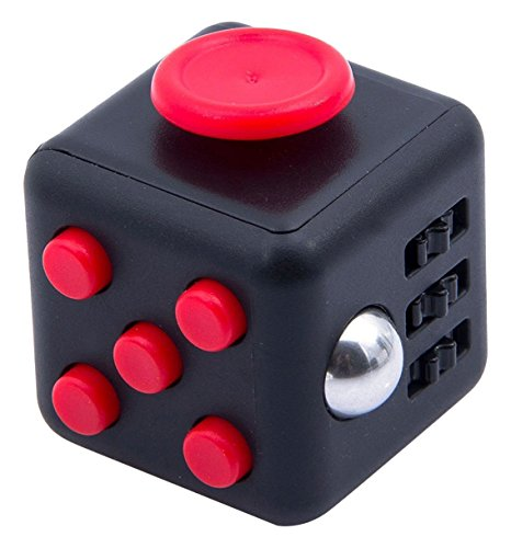 ZS-Juyi Fidget Toy Cube Relieves Stress and Anxiety for Children and Adults (Black/Red)