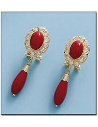 Ohrringe von Coral Gelbgold 750/1000mit Zirkonia Gelbgold Größe: 11x 33mm