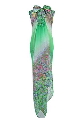 PB-SOAR XXL Mode Damen Sarong Pareo Strandtuch Wickelrock Wickeltuch Schal Halstuch mit Blumenmuster (Grün)