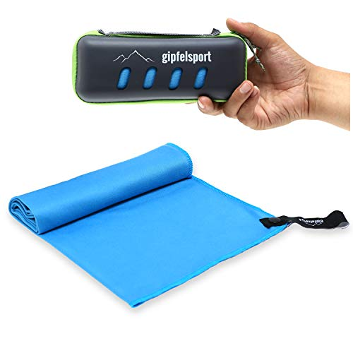 Mikrofaser Handtuch Set - Microfaser Handtücher mit Case für Sauna, Fitness, Sport   Strandtuch, Sporthandtuch   blau/grau   120x60cm