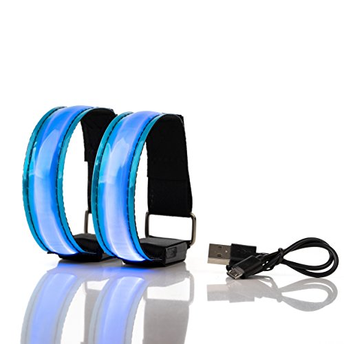 CONJUNTO DE 2 BRAZALETES LED RECARGABLES super brillantes