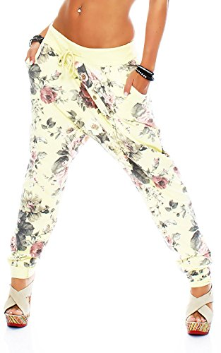 malito fiori Pantaloni Aladin Sbuffo Pantaloni Pump Baggy Yoga 3304 Donna Taglia Unica Giallo