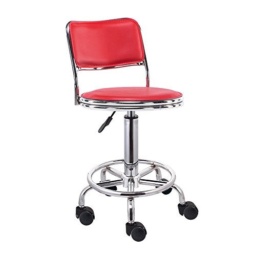 Zurück Bar Stuhl (Hocker YANFEI Stuhl drehbarer Bar & Zurück Schönheit Stuhl Bar Stuhl Haarschnitt (43-58) cm (Farbe : Rot))