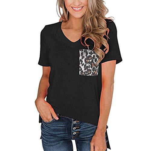 Floweworld Damen Kurzarm T-Shirt Sommer V-Ausschnitt Lässige Kleidung Blusen mit Leoparden Tasche Damen Basic Tops