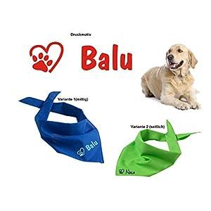 Hundehalstuch mit Namen inkl. Motiv, in vielen verschiedenen Farb-Varianten bedruckt, Dreieckstuch Hund – Halstuch