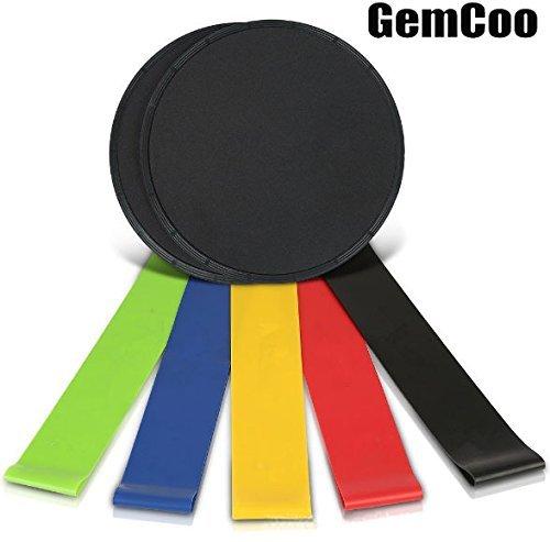 Gemcoo Bande di Resistenza Fasce Elastiche Fitness (set da 5) Gliding Discs Set Dischi Scorrevoli per Esercizi Addominali (set da 2) per allenamenti in casa e allenamento
