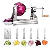 WellToBe Spiralschneider Spirali mit 3 Klingen und 4 Saugnapf für Spiralen Veg Pasta, Hand Gemüse Spiralschneider Für Karotte,Gurke,Kartoffel,Kürbis,Zucchini