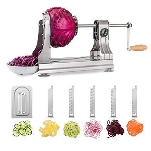 WellToBe CS-668 Cortador de Verduras en Espiral,Espiralizador de Verduras, Rallador Verduras de Tres Cuchillas en Acero Inoxidable,Herramienta de Cocina para Crear Pasta Vegetal y espagueti calabacín