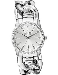 So y Co para mujer de Nueva York reloj infantil de cuarzo con diseño de rayas de plateado esfera analógica y plateado correa de acero inoxidable de 5071,1