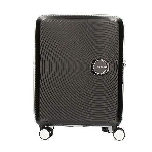 American Tourister Soundbox Spinner EXP, S (cm55 x 40 x 20/23 41 L), Negro/Blanco