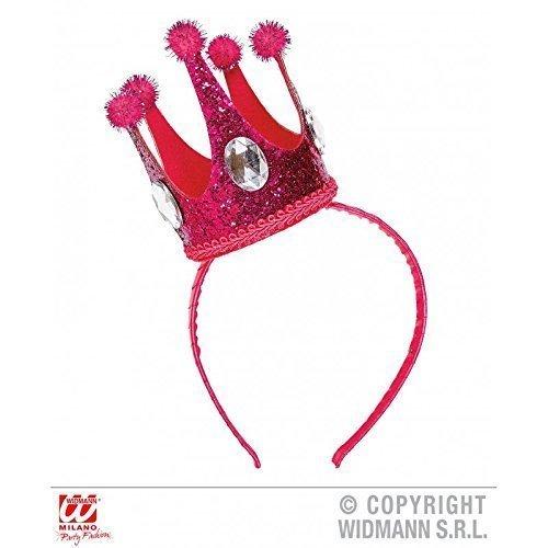 Lively Moments Krone in pink auf Haarreif mit Edelsteinen und Glitter/Minikrone/Krönchen/Fasching/Karneval