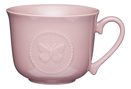 Kitchen Craft 'Schmetterling' Keramik Breakfast Tasse, 400 ml (14 FL OZ) - Dark Pink (Schmetterling-keramik-tasse)