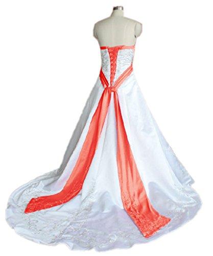 APXPF Damen Satin Stickerei Hochzeitskleid für die Braut Zu 18 Plus Weiß und Wassermelone