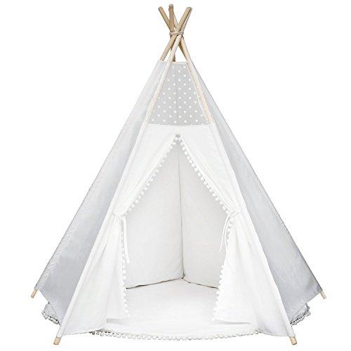 Prinzessin Kinderzelt Poms Tipi Spielzelt, Natürlich Baumwolle Segeltuch Spielhaus Zelt, Innen Draussen Kinderzimmer Spielzeug für Babys Mädchen Jungen, Weiß
