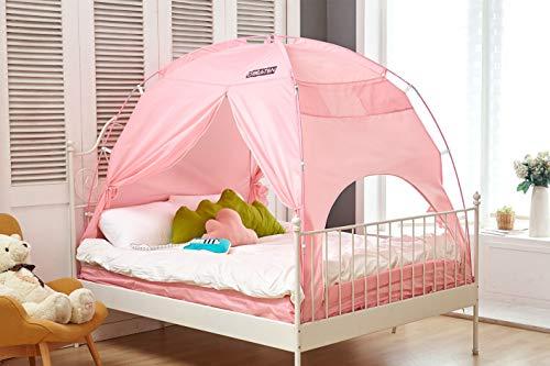 Besten Floorless in-Sichtschutz Zelt auf Bett für warmen und gemütlichen drafty Schlafen Zimmer Twin Pink(cp) (Bug Bett + Matratze Tasche)