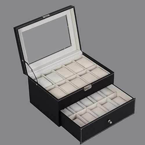 Chmuck Aufbewahrungsbox, CHsheTM Schmuckkasten 20 Gitter Schwenkbare Doppelte Schublade Schatztruhe Schmuckschatulle Display Uhrenbox Organizer Für Ringe Armbänder Ohrringe Halsketten -