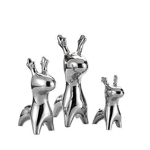 3piezas Porcelana Ciervo figuras, purelifestyle, metal, altura 15,5cm/21cm/27,5cm, cerámica Corzo Figura, animales escultura, Estatua decorativa, mesa decorativo, Figura Decorativa