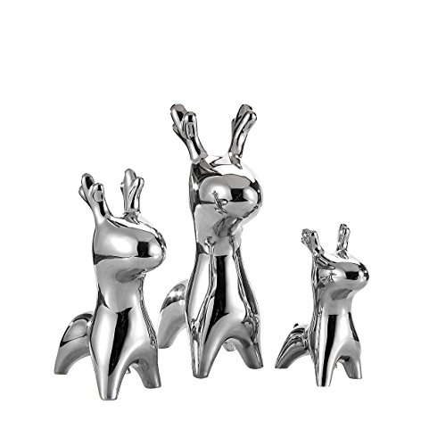 3 pieces Porcelain Deer figures, purelifestyle, metal, height 15,5 cm / 21 cm / 27,5 cm, ceramic Corzo figure, animals sculpture, Decorative statue, decorative table, Decorative Figure