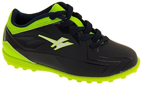 Footwear Studio, Scarpe da calcio bambini Nero nero Navy Blue & Lime Green