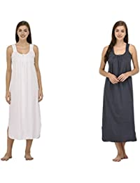 Ishita Fashions Cotton Gown Slip - Cotton Nighty - 2 PCs - White and Grey