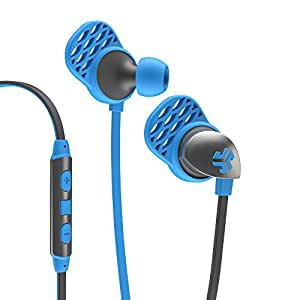 JLab Audio Epic Earbuds for Apple-MFI Certified, Built-in premium Universal Mic, IOS compatible cable, adjust volume, answer calls & change tracks from detachable cord. GUARANTEED FOR LIFE-Blue/Gray