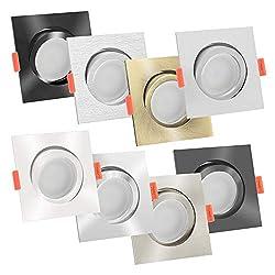 5x LED-Einbaustrahler Aluminium eckig 230V   extra flach 25mm   DIMMBAR   6W statt 70W   120° & schwenkbar   warmweiß 2700K   8 Farben zur Auswahl (Chrom-poliert)